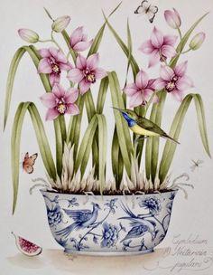 Clip Art Pictures, Art Images, Paintings I Love, Original Paintings, Watercolor Flowers, Watercolor Paintings, Decoupage Vintage, Color Pencil Art, Pottery Painting