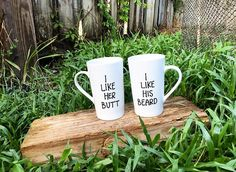 His and Hers Set...I Like Her Butt // I Like His Beard Mugs...Couples Mugs...Collection..Gifts for Couples...Funny Coffee Mug...Funny Gifts