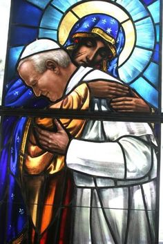 Stained glass window - Our Lady of Częstochowa and Pope John Paul II