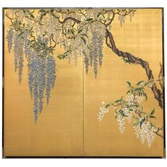 Japanese Two Panel Screen: Wisteria on Gold 1