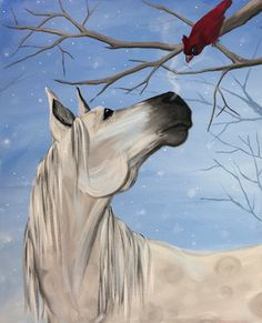 Horse and Cardinal painting. White horse in the snow and crisp blue sky with Cardinal peeking at him from the bare tree branches. Lovely painting!. Please also visit www.JustForYouPropheticArt.com for more colorful Art. Thank you so much!