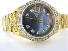 Ladies Rolex Datejust Mother Of Pearl Diamond Dial 18kt Yellow Gold Oyster Watch $9,905