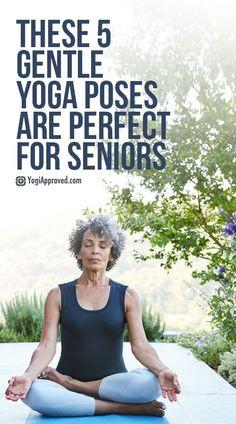 These 5 Gentle Yoga Poses Are Perfect for Seniors If you're over yoga for seniors is the perfect practice for rewarding effects for your body and mind. Here are 5 yoga poses for seniors for you to try. Ashtanga Yoga, Sanftes Yoga, Sup Yoga, Yoga Flow, Kundalini Yoga, Yoga Meditation, Qi Gong, Senior Fitness, Yoga Fitness