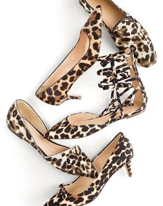 NOV '15 Style Guide: J.Crew women's Collection calf hair loafers, Collection Dulci calf hair kitten-heel pumps, leopard bow gladiator flats, Collection Sloan calf hair d'Orsay flats and Dulci kitten-heel pumps with bow.