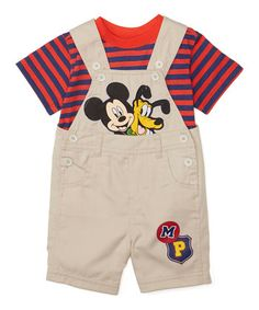 Brown Mickey Mouse Tee & Shortalls - Infant