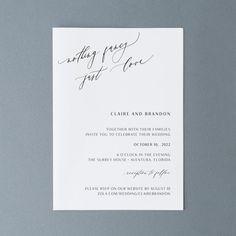 Simple Wedding Invitation Calligraphy Wedding Invites | Etsy Simple Wedding Invitations, Wedding Stationery, Invites, Minimal Wedding, Wedding Calligraphy, October Wedding, Wedding Announcements, Simple Weddings, Etsy