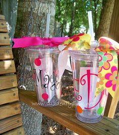 How cute are our double wall tumblers - TOOOOOO CUTE, right?     Keep drinks cold without the sweat, and what a tooooo cute way to travel with your favorite beverage!! Suddenly Pink is so excited to be offering this top quality ACRYLIC DOUBLE-WALL Tumbler with STRAW - AND in a large size...16OZ !