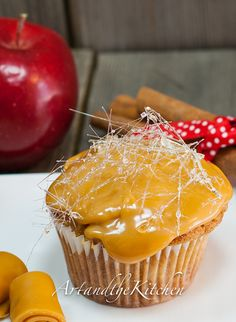 Caramel Apple Cupcakes - delicious apple cupcakes topped with gooey layer of caramel, decorated with spun sugar.