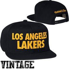 Mitchell & Ness Los Angeles Lakers Hardwood Classics Title Snapback Hat - Black