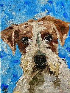 Jack Russell small original portrait oil painting on canvas - Irish design home decoration artwork - Irish Farm Art Irish Design, Farm Art, People Art, Freelance Illustrator, Oil Painting On Canvas, Art Projects, Art Gallery, The Originals, Portrait