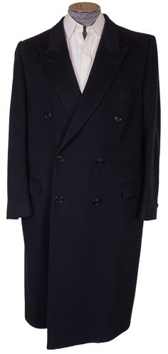 Vintage Mens Cashmere Coat Navy Blue 1970s Size Large