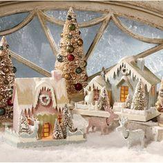 Pastel Putz Christmas Houses