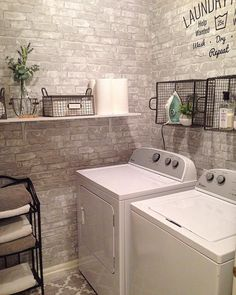 Laundry room makeover with faux brick peel and stick wallpaper
