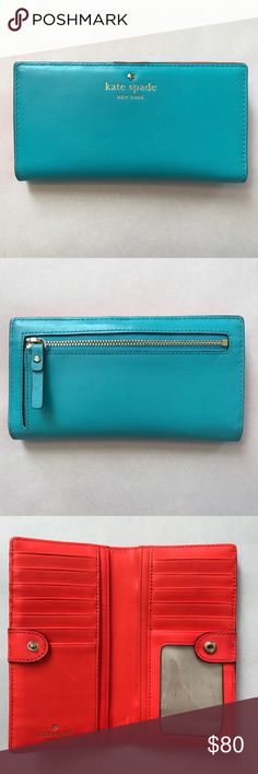 Kate Spade Turquoise/Orange Wallet Like new! Turquoise leather exterior with bright orange leather card slots and gold snap tab closure. Features 12 credit card slots, one ID slot and two billfolds. Also has embossed signature and light gold stud. kate spade Bags Wallets