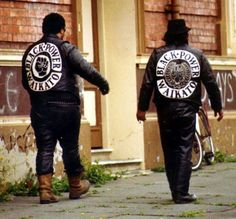 Gangscene photo of black power new zealand ethnic gang - members strolling the streets in Waikato Biker Clubs, Motorcycle Clubs, Outlaws Motorcycle Club, Bike Gang, Gang Members, Brothers In Arms, Red Vs Blue, Career Inspiration, Biker Patches