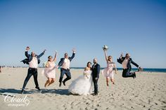 Hip hip, hooray for wedding day!  Who doesn't want to jump for joy when you've just watched your best friends become husband and wife? We're suckers for a good jumping picture, preferably on a beach with some sweet sunglasses. We're loving the bridesmaids light pink dresses against that blue sky, and the groomsmen and their navy suits, so cool. Summer wedding at the Hyatt Regency Huntington Beach in Huntington Beach, CA.  • • • • •  www.LoveCloud9.com #LoveCloud9 #Cloud9Brea…