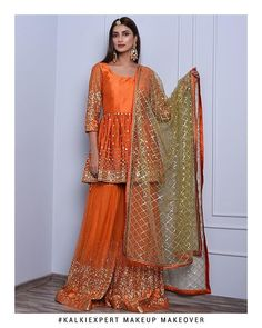 Orange sharara suit set in mirror and zari embroidery only on Kalki Pakistani Party Wear Dresses, Shadi Dresses, Designer Party Wear Dresses, Pakistani Wedding Outfits, Indian Gowns Dresses, Pakistani Dress Design, Indian Designer Outfits, Indian Outfits, Formal Dresses