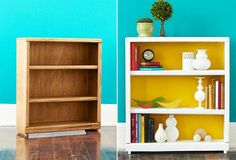 DIY bookcase makeover-Watch out ugly bookshelves in kitchen. Trendy Furniture, Repurposed Furniture, Painted Furniture, Diy Furniture, Western Furniture, Furniture Outlet, Discount Furniture, Rustic Furniture, Bedroom Furniture