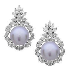 Gorgeous South Sea Pearl Diamond Gold Dangle Earrings 1