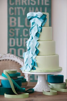 Pretty Turquoise Cascading Ribbons Cake