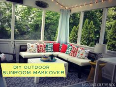 How to Make a DIY Outdoor Sectional {Knock it Off TV} #DIY #Outdoor #SunroomMakeover #DIYSunroom #DIYSectional #OutdoorSectional