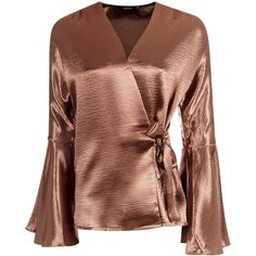 Boohoo Alice Satin Wrap Over Flute Sleeve Blouse ($30) ❤ liked on Polyvore featuring tops, blouses, bralette crop top, long-sleeve crop tops, satin blouse, crop top and bodysuit blouse