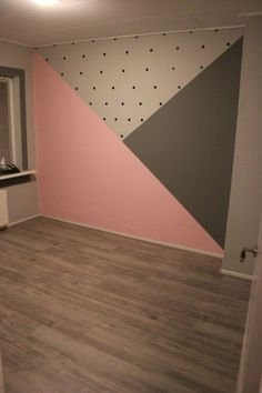 Zimmer Baby room with painted surfaces; pink and gray and black dots, room # su Room Wall Painting, Room Paint, Bedroom Wall, Bedroom Decor, Bedroom Ideas, Cool Teen Bedrooms, Twin Girl Bedrooms, Girl Bedroom Designs, Kids Room Design