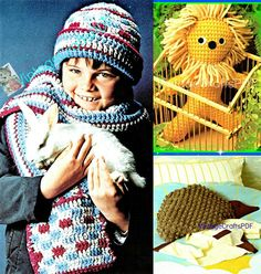 Four (4) PATTERNS 1970s Childs Hat+Scarf Baby Lion Cub Stuff Toy and a Hedgehog Pajama Bag Vintage Crochet Pattern Toddlers Children by VintageBeso