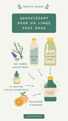 Recette d'adoucissant maison pour un linge qui sent bon Diy Home Cleaning, Homemade Cleaning Products, Cleaning Hacks, Clean Life, Clean House, Homemade Floor Cleaners, Homemade Cosmetics, Natural Lifestyle, Green Kitchen