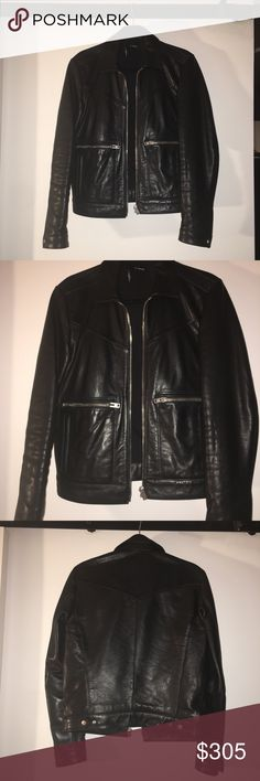 """The Kooples men's leather jacket . Size S The Kooples men's leather jacket . Pre owned. Size S . Made in turkey . Jacket have 4 pocket in the front and one inside the jacket . 100% lambskin leather . ( lining - 65% polyester,35% cotton . Armpit to armpit -19"""". Length -23.5"""". Sleeve length -25"""". Please do not hesitate to ask questions or additional pictures. Thank you The Kooples Jackets & Coats"""