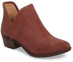 Women's Lucky Brand 'Bashina' Perforated Bootie Nubuck leather upper Slip on entry Synthetic lining Faux welt Rubber outsole Approx. Golden Shoes, Shoe Collection, Block Heels, Lucky Brand, Me Too Shoes, Heeled Mules, Shoe Boots, Autumn Fashion, Dress Shoes