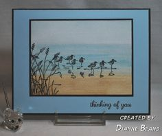 """By Dianne Beans. Uses stamps from """"Wetlands"""" by Stampin' Up. Background is a color wash on watercolor paper. Wetlands Stampin Up, Feather Cards, Nautical Cards, Beach Cards, Paper Cards, Fun Cards, Birthday Cards For Men, Bird Cards, Scrapbook Cards"""