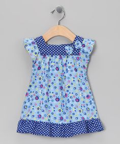 Look what I found on #zulily! Blue Polka Dot Floral Dress - Infant, Toddler & Girls by Beebay #zulilyfinds
