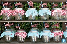 Americana Picnic party. These jars with lids and straws are perfect for keeping bugs out and prevents spills!