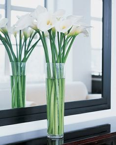 Tall Vases with Long-stemmed Flowers - simple and elegant centerpiece.