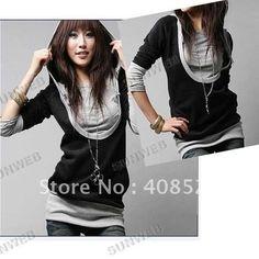 2014 Korea Women's Sweatershirts Fashion Long Sleeve Shirt Cotton ...