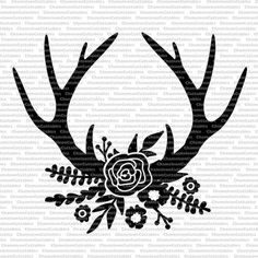floral antlers black svg cut file rustic by ChameleonCuttables Silhouette Cameo Projects, Silhouette Design, Flower Silhouette, Deer Silhouette, Silhouette Files, Cricut Air, Cricut Vinyl, Vinyl Crafts, Vinyl Projects