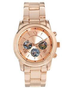 Image 1 of ASOS Chrono Globe Boyfriend Watch