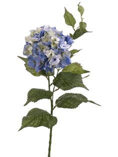 """Hydrangea Spray in Blue- PREMIUM-CLOSEOUT $4.99 Create the illusion of freshly cut hydrangeas with these realistic garden cuttings. Each spray measures 34"""" long with a wired stem for easy arranging. Silk flower measures approximately 6.5"""" in diameter."""