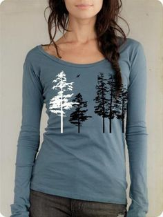 Women's Hemlock tree shirt, organic long sleeve, sea blue, sexy scoop neck, hand screenprint, gift for her, all sizes available on Etsy, $32.00