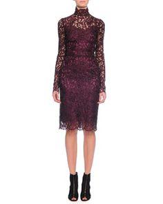 W068R Dolce & Gabbana Floral-Lace Scalloped Sheath Dress, Aubergine
