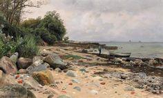 ✨ Peder Mørk Mønsted, Danish (1859-1941) - Sommertag am Kattegat. Signiert und datiert unten links: P. Monsted Aalsgaarde 1919. Öl auf Leinwand. 52,5 x 85 cm. ::: Summer day at Kattegat
