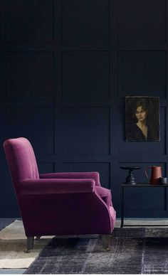 Elsa, Classic, contemporary, upholstered armchair in velvet, looks so inspiring against the dark blue/black farrow and ball paint colour. Also available in different fabrics. Dark Blue Couch, Dark Blue Living Room, Dark Blue Walls, Purple Sofa, New Living Room, Living Room Sofa, Living Room Decor, Blue Bedroom, Trendy Bedroom