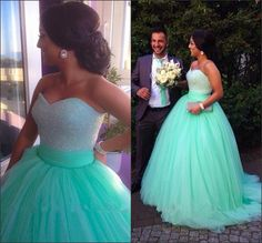 $149-Sparkly Pageant Dress Sequins Beaded Bodice Corset Mint Green Prom Dress Ball Gowns 2015 Tulle Long Evening Party Gowns