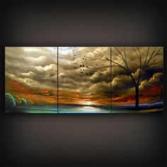 metallic gold tree painting abstract landscape by mattsart on Etsy, $179.00