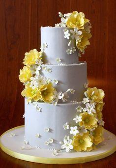 My Photo Album Elegantly Iced Yellow Flower Cake Gorgeous Cakes, Pretty Cakes, Amazing Cakes, Wedding Cake Designs, Wedding Cakes, Pear Cake, Elegant Cakes, Floral Cake, Fancy Cakes