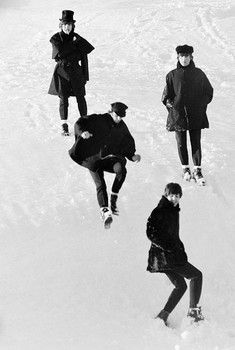 """The Beatles during the filming of """"Help!"""" as seen by photographer Roger Fritz."""