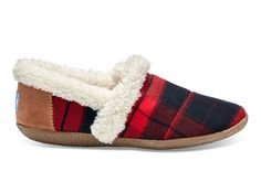 undefined Red and Black Plaid Women's House Slippers