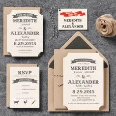 Vintage Ticket Wedding Invitation - Meredith & Alexander   Paper Source