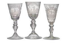 THREE GERMAN ENGRAVED GLASS GOBLETS